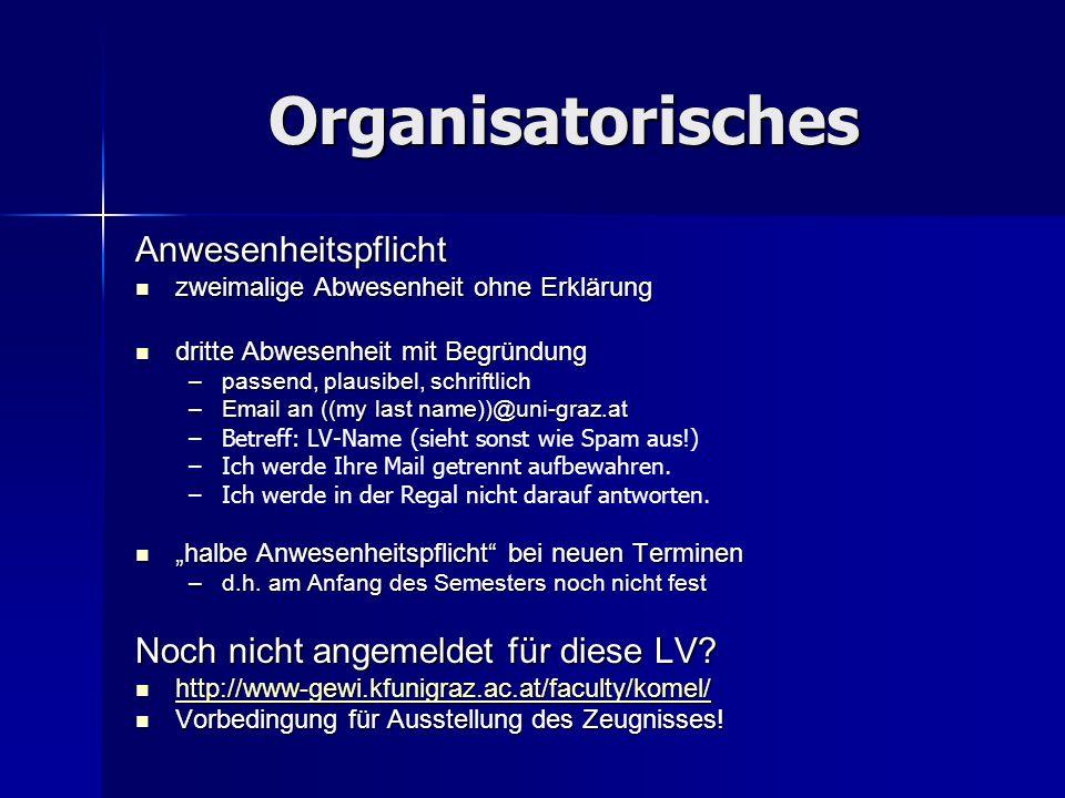 Organisatorisches Anwesenheitspflicht