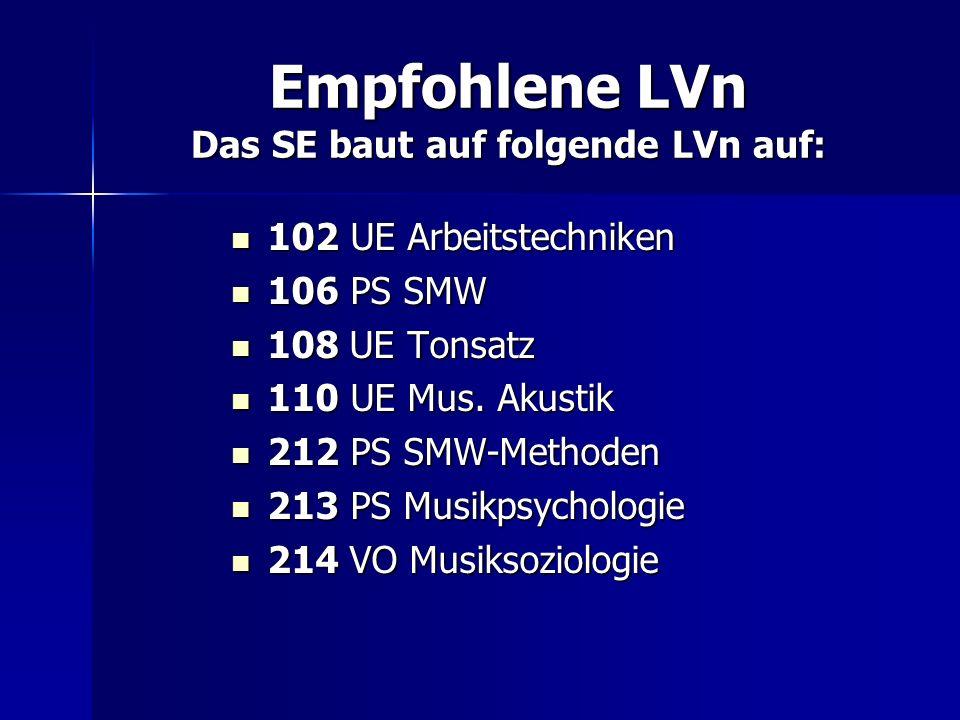 Empfohlene LVn Das SE baut auf folgende LVn auf:
