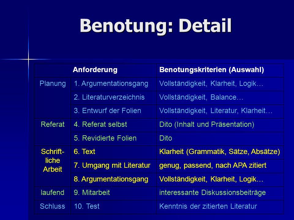 Benotung: Detail Anforderung Benotungskriterien (Auswahl) Planung
