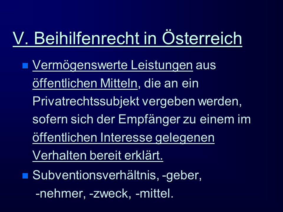 V. Beihilfenrecht in Österreich