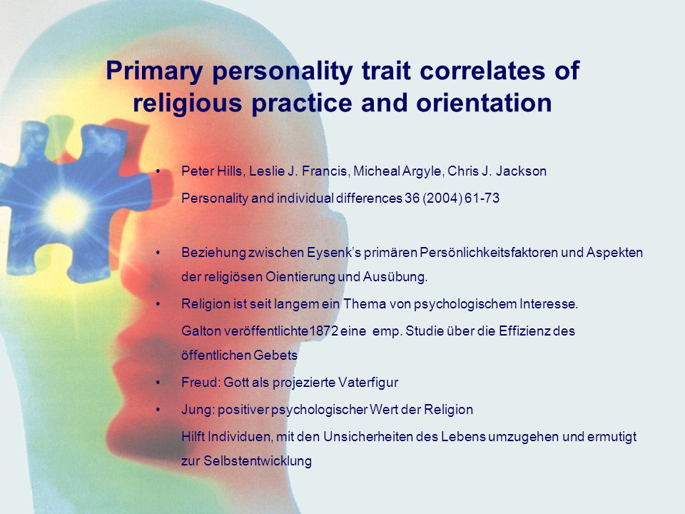 Primary personality trait correlates of religious practice and orientation
