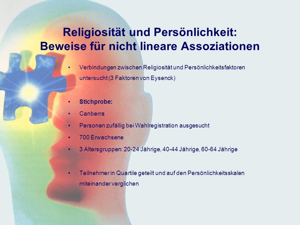 Religiosität und Persönlichkeit: Beweise für nicht lineare Assoziationen