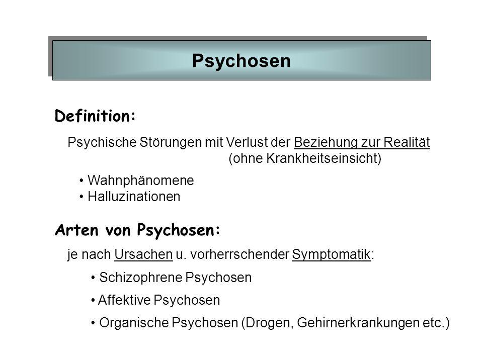 Psychosen Definition: Arten von Psychosen: