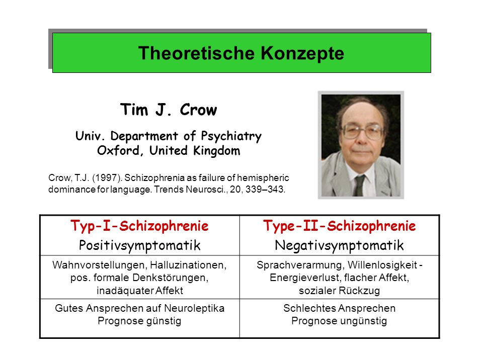 Univ. Department of Psychiatry Type-II-Schizophrenie