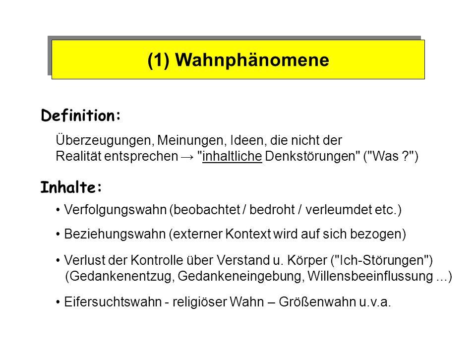 (1) Wahnphänomene Definition: Inhalte: