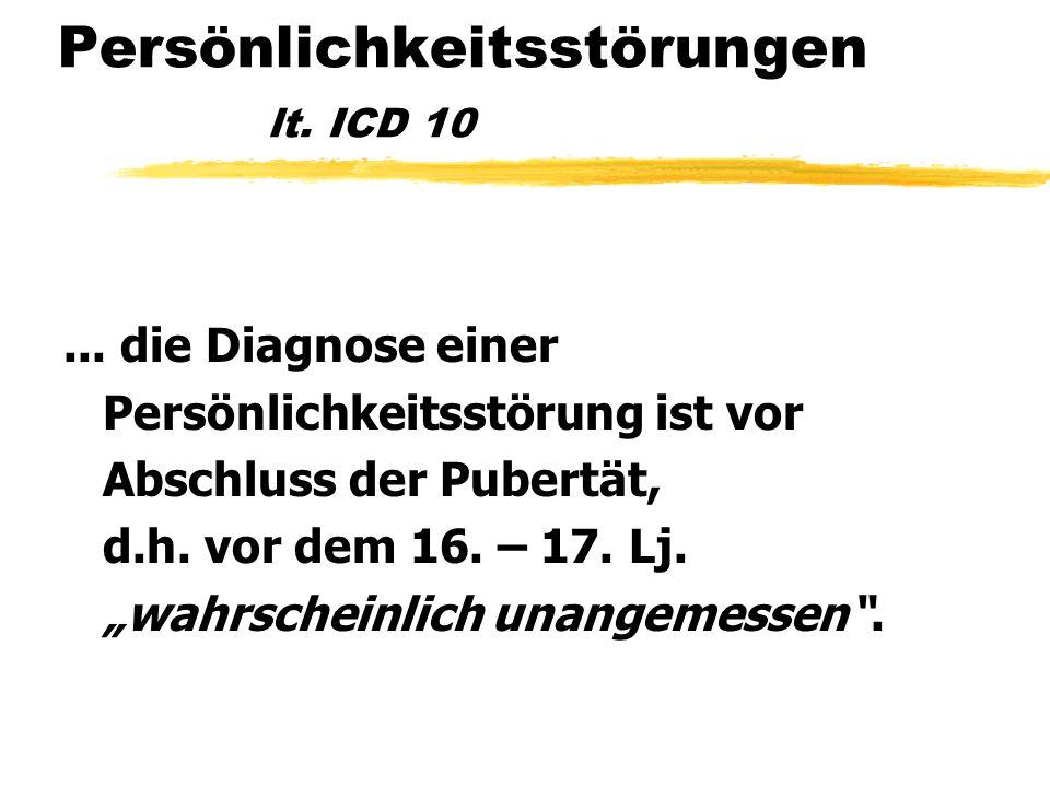 Persönlichkeitsstörungen lt. ICD 10