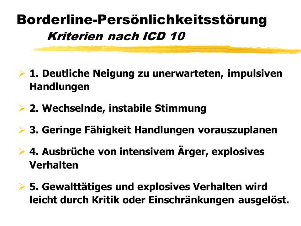Borderline-Persönlichkeitsstörung Kriterien nach ICD 10