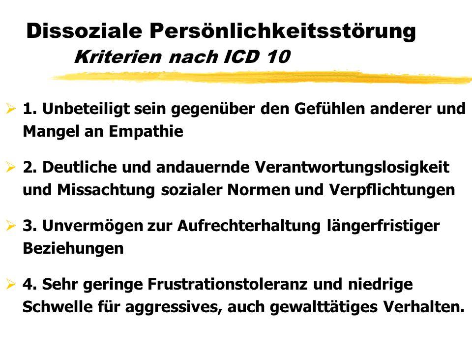 Dissoziale Persönlichkeitsstörung Kriterien nach ICD 10