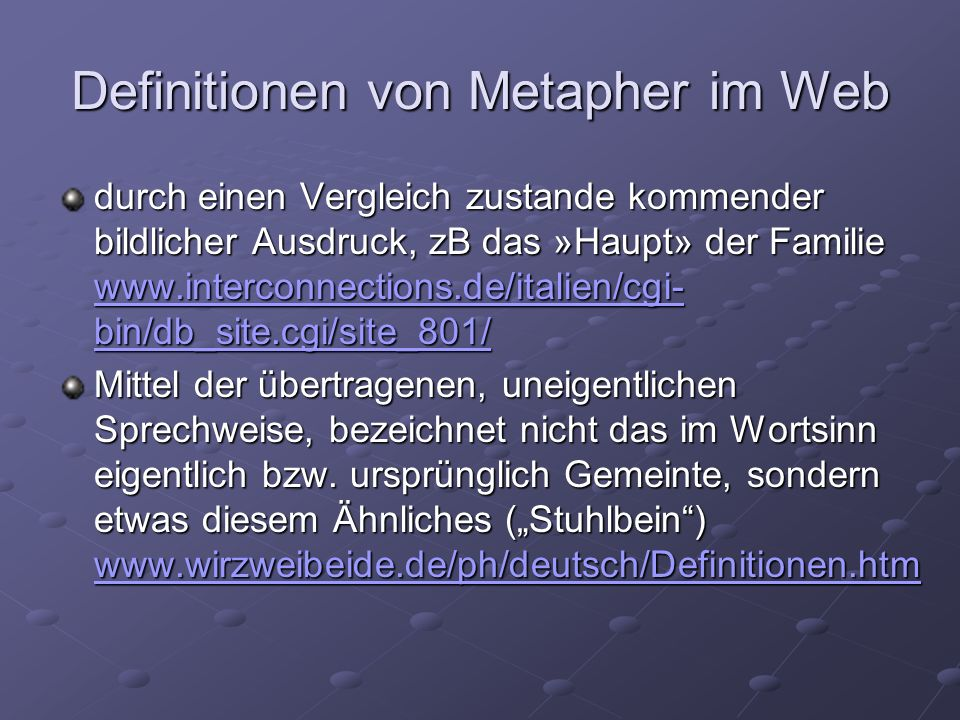 Definitionen von Metapher im Web