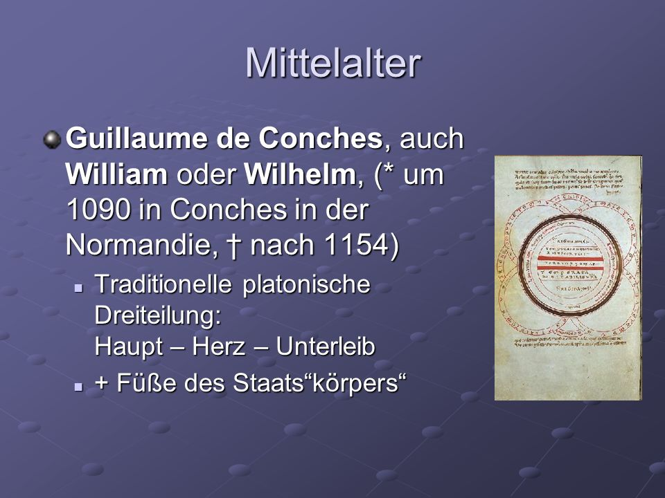 Mittelalter Guillaume de Conches, auch William oder Wilhelm, (* um 1090 in Conches in der Normandie, † nach 1154)