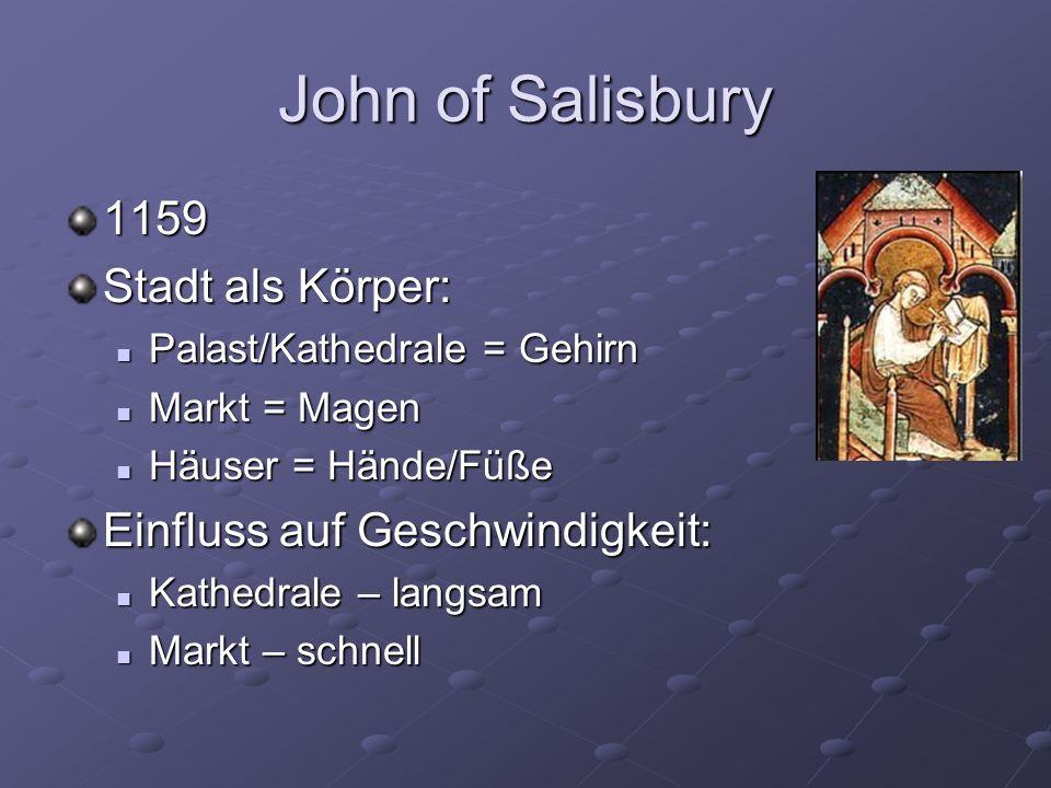 John of Salisbury 1159 Stadt als Körper: Einfluss auf Geschwindigkeit:
