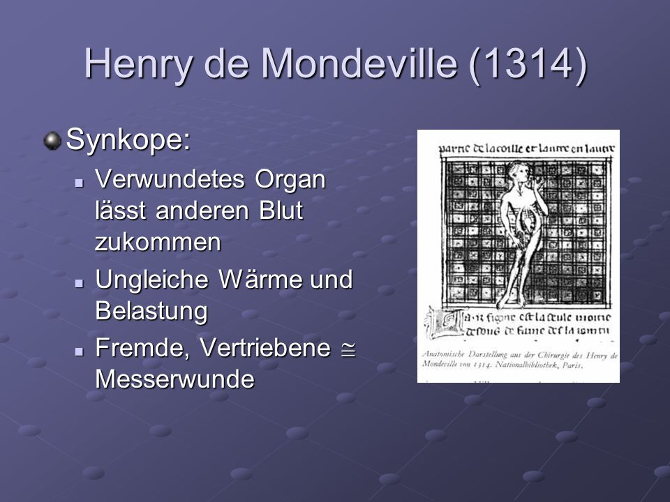 Henry de Mondeville (1314) Synkope: