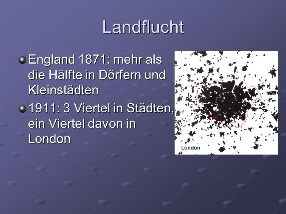 Landflucht England 1871: mehr als die Hälfte in Dörfern und Kleinstädten.