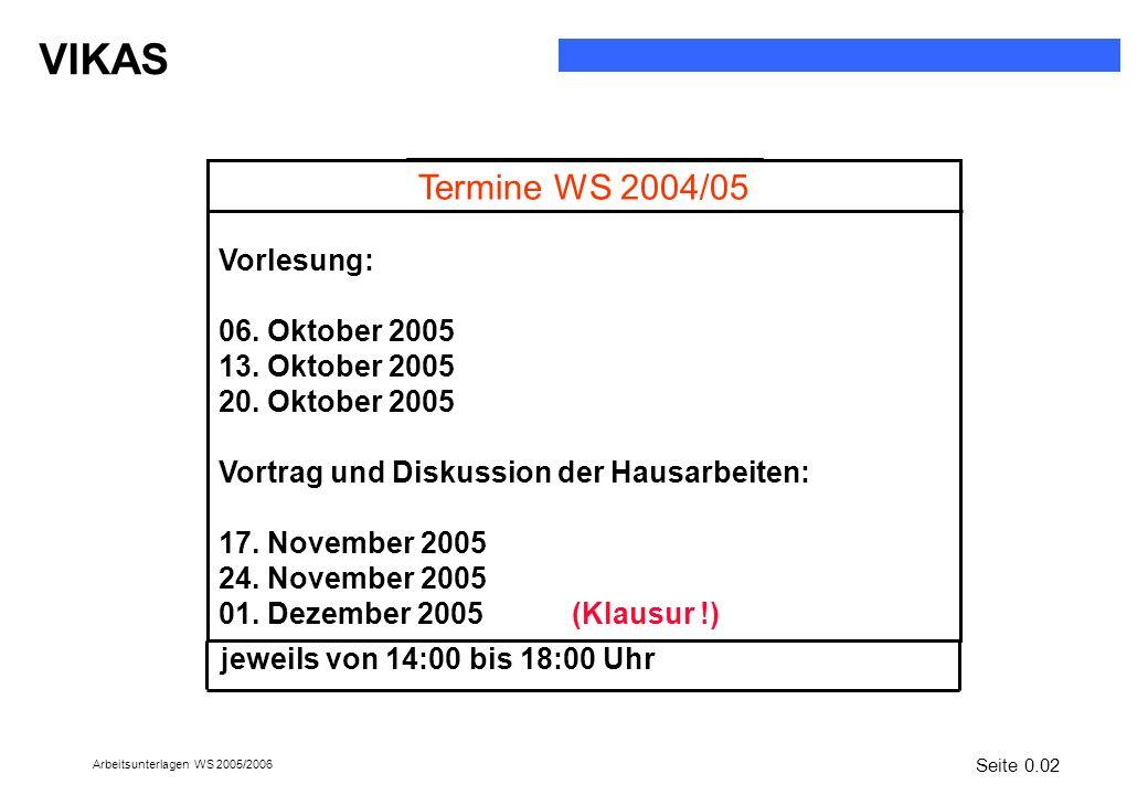Termine WS 2004/05 Vorlesung: 06. Oktober 2005 13. Oktober 2005