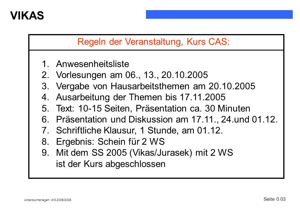 Regeln der Veranstaltung, Kurs CAS: Anwesenheitsliste