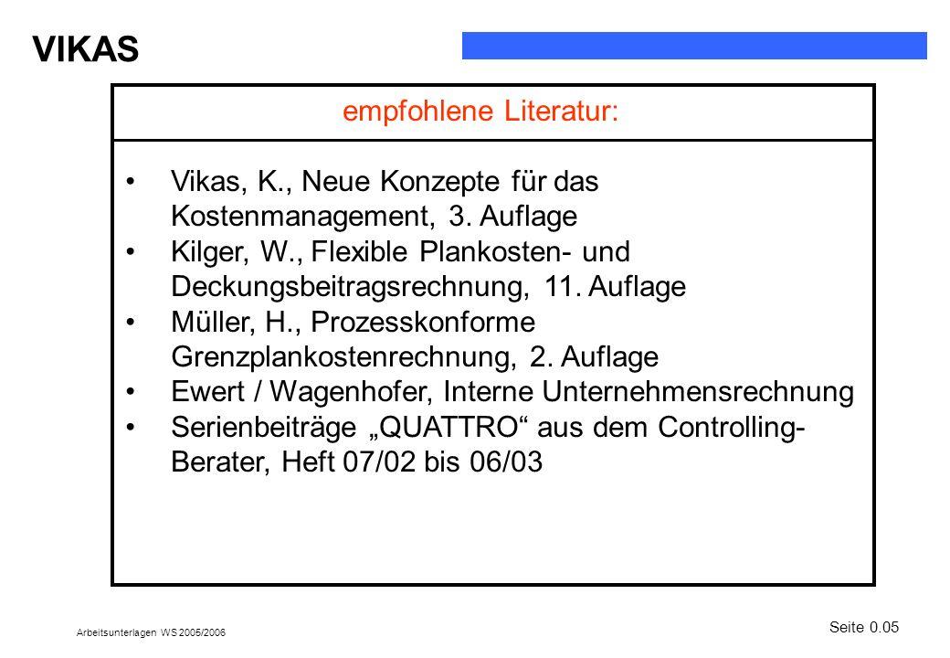 empfohlene Literatur: Vikas, K., Neue Konzepte für das