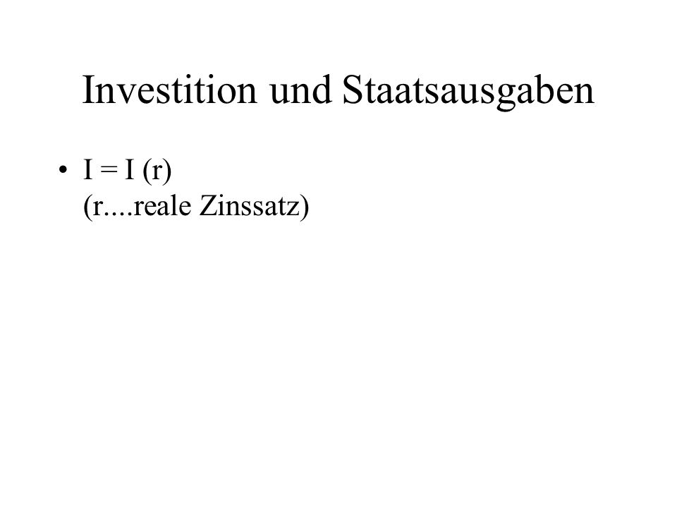 Investition und Staatsausgaben