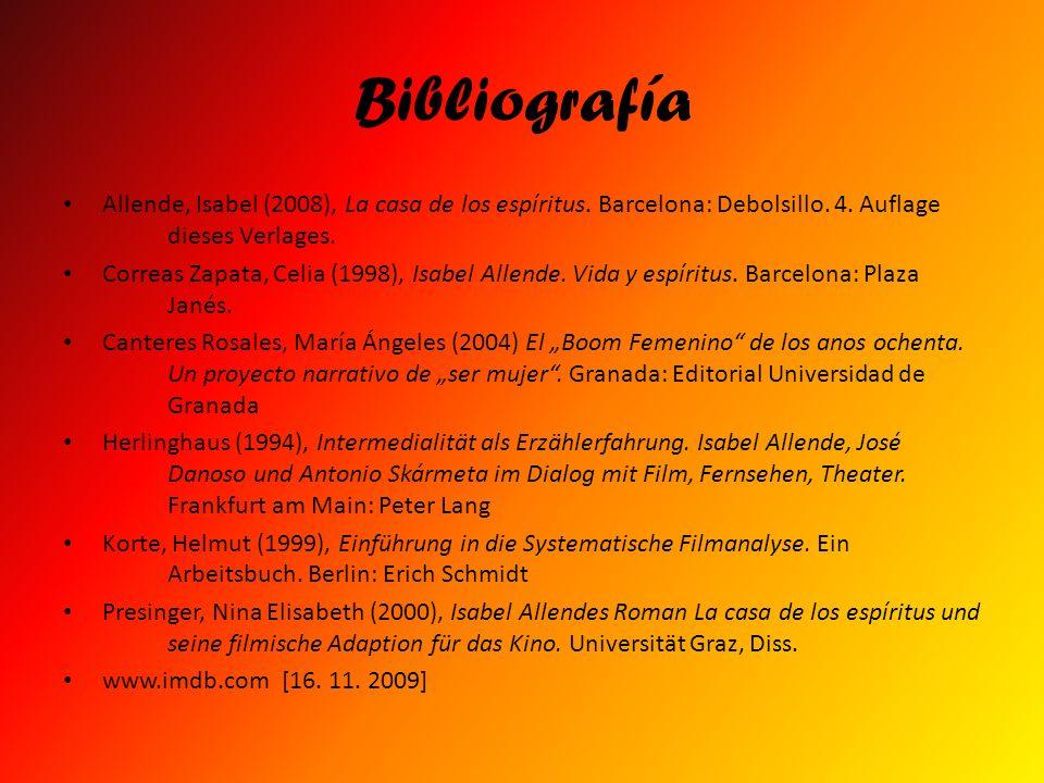 Bibliografía Allende, Isabel (2008), La casa de los espíritus. Barcelona: Debolsillo. 4. Auflage dieses Verlages.