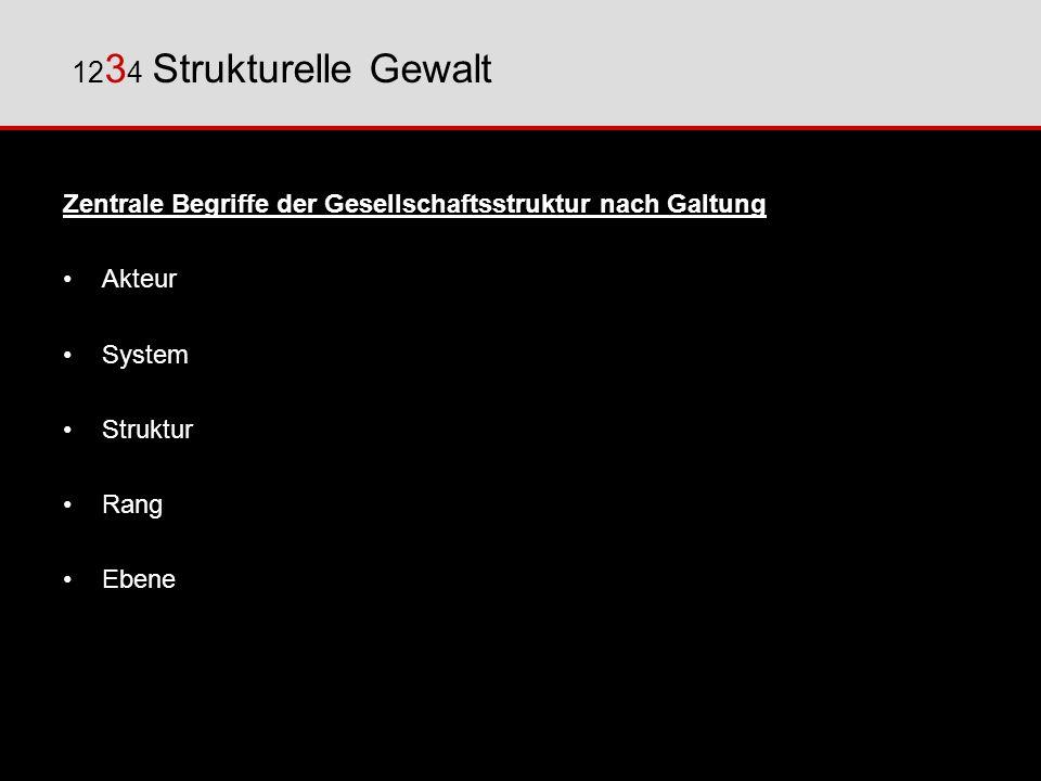 1234 Strukturelle Gewalt Zentrale Begriffe der Gesellschaftsstruktur nach Galtung. Akteur. System.