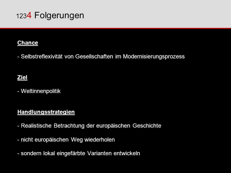 1234 Folgerungen Chance. - Selbstreflexivität von Gesellschaften im Modernisierungsprozess. Ziel.