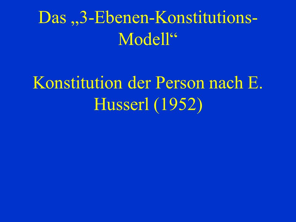 "Das ""3-Ebenen-Konstitutions-Modell Konstitution der Person nach E"