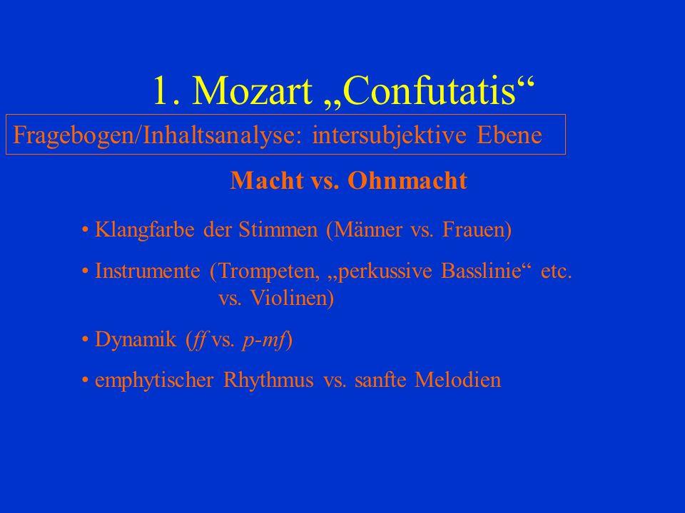 "1. Mozart ""Confutatis Fragebogen/Inhaltsanalyse: intersubjektive Ebene. Macht vs. Ohnmacht. Klangfarbe der Stimmen (Männer vs. Frauen)"
