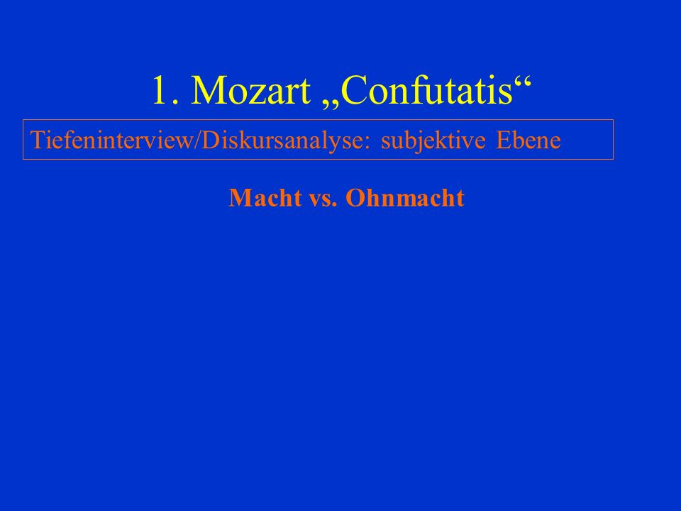 "1. Mozart ""Confutatis Tiefeninterview/Diskursanalyse: subjektive Ebene Macht vs. Ohnmacht"