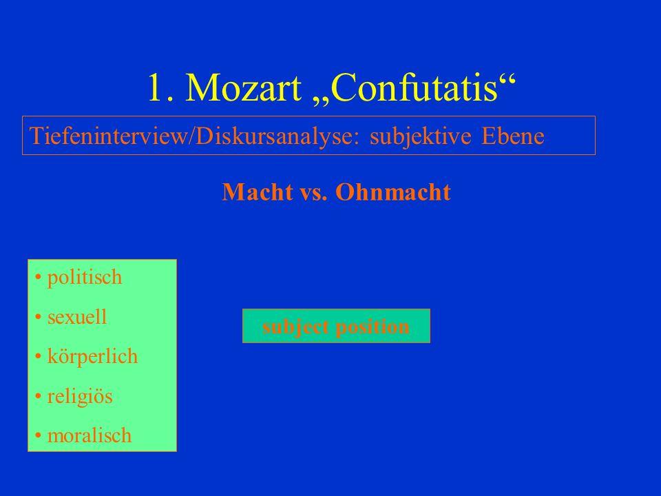 "1. Mozart ""Confutatis Tiefeninterview/Diskursanalyse: subjektive Ebene. Macht vs. Ohnmacht. politisch."