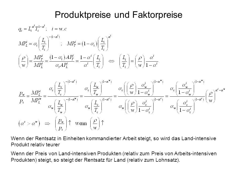 Produktpreise und Faktorpreise
