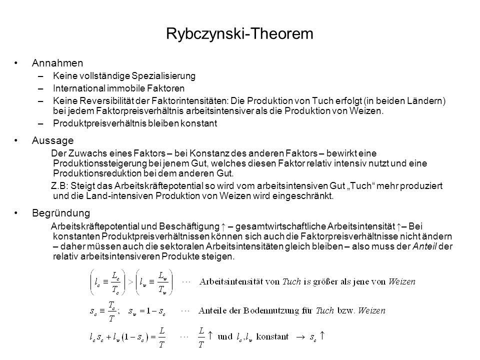 Rybczynski-Theorem Annahmen Aussage Begründung