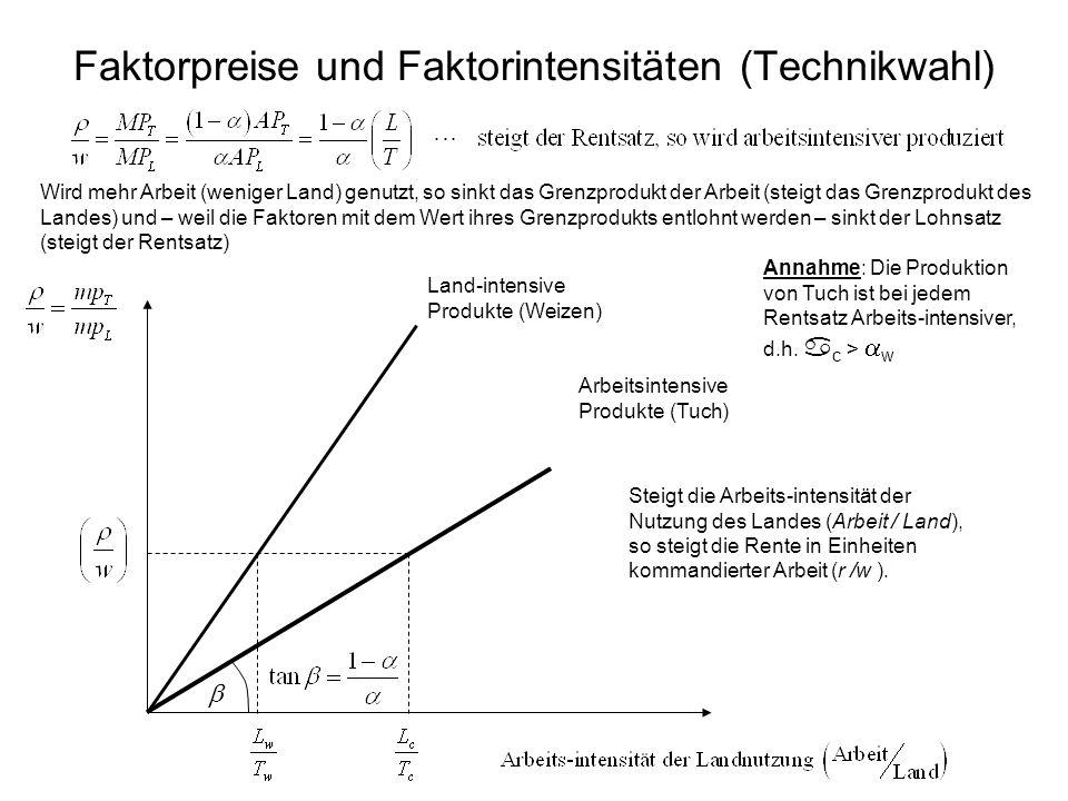 Faktorpreise und Faktorintensitäten (Technikwahl)