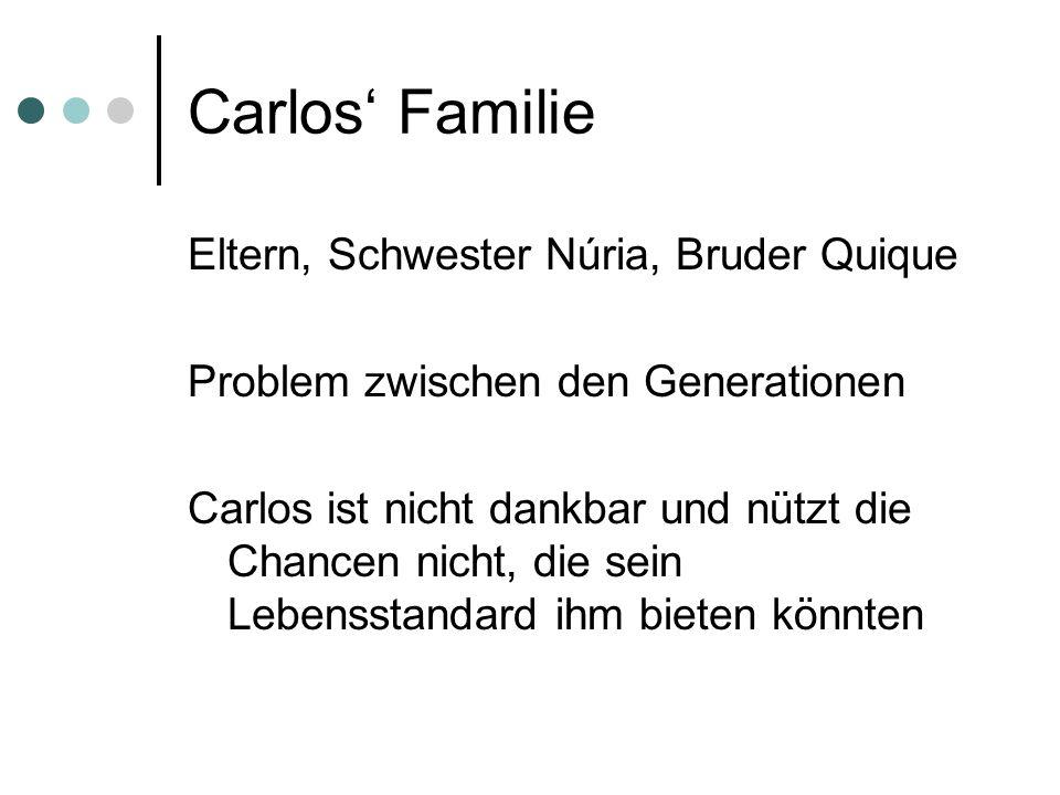 Carlos' Familie Eltern, Schwester Núria, Bruder Quique