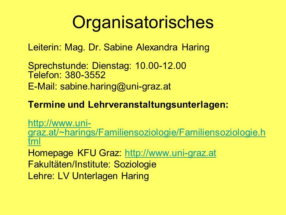 Organisatorisches Leiterin: Mag. Dr. Sabine Alexandra Haring Sprechstunde: Dienstag: 10.00-12.00 Telefon: 380-3552.