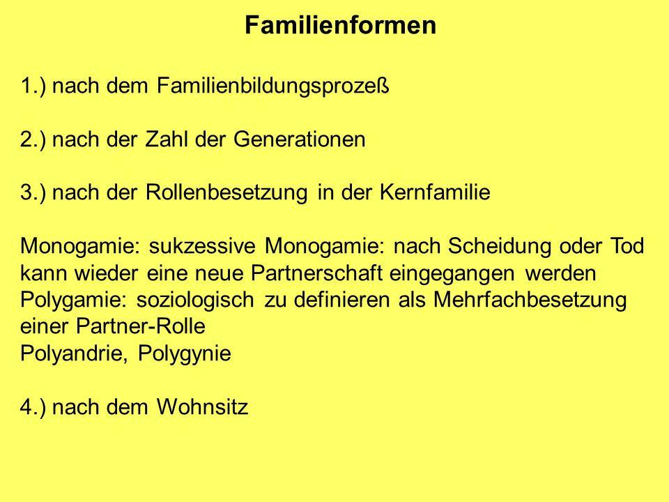 Familienformen 1.) nach dem Familienbildungsprozeß
