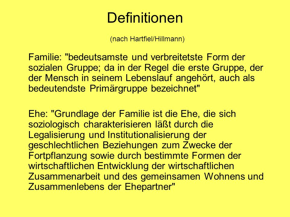 Definitionen (nach Hartfiel/Hillmann)