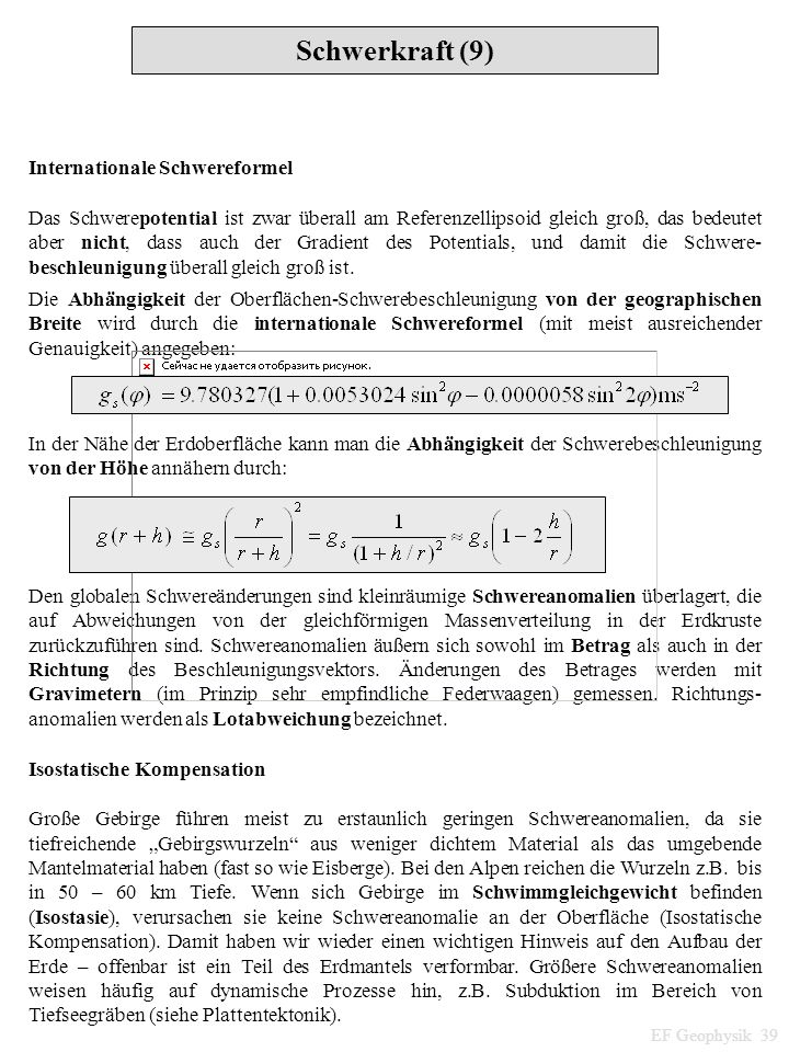 Schwerkraft (9) Internationale Schwereformel