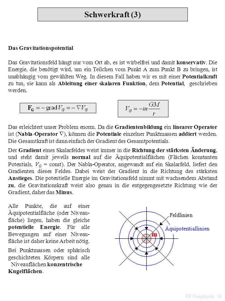 Schwerkraft (3) Das Gravitationspotential