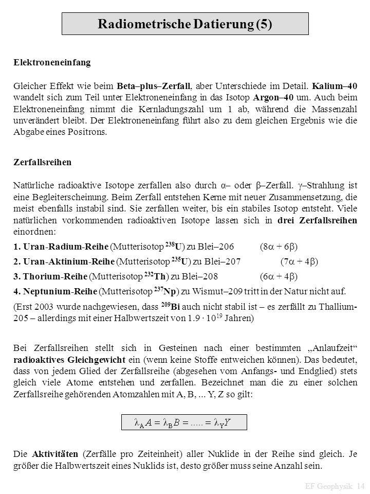 Radiometrische Datierung (5)