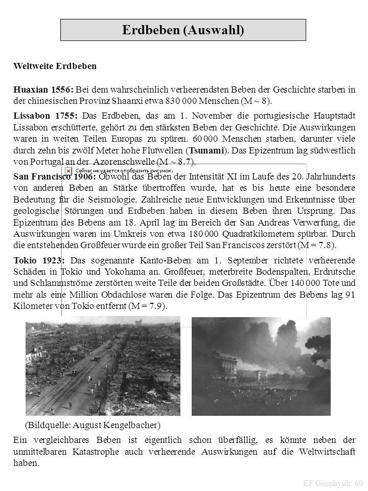 Erdbeben (Auswahl) Weltweite Erdbeben