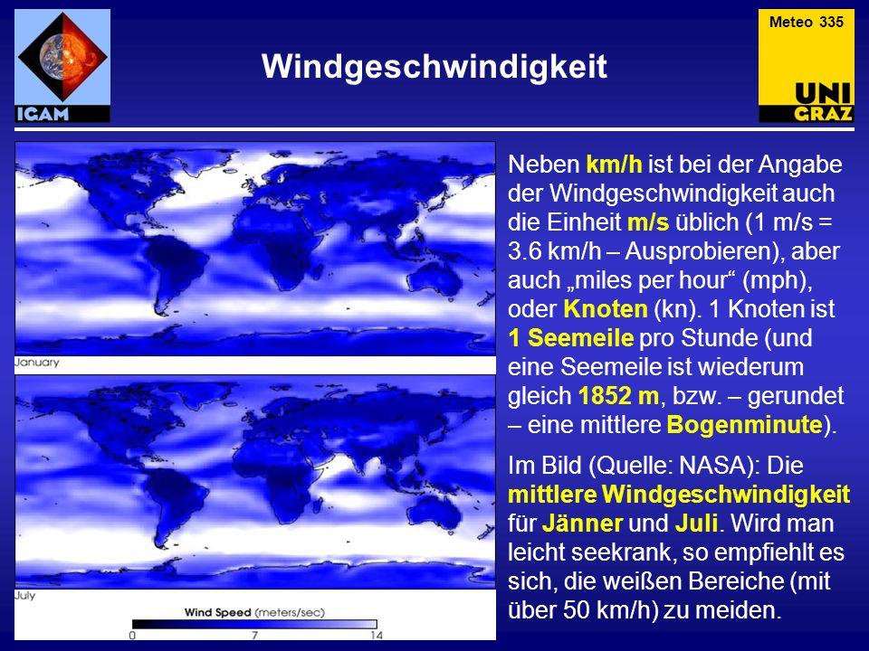 Meteo 335 Windgeschwindigkeit.