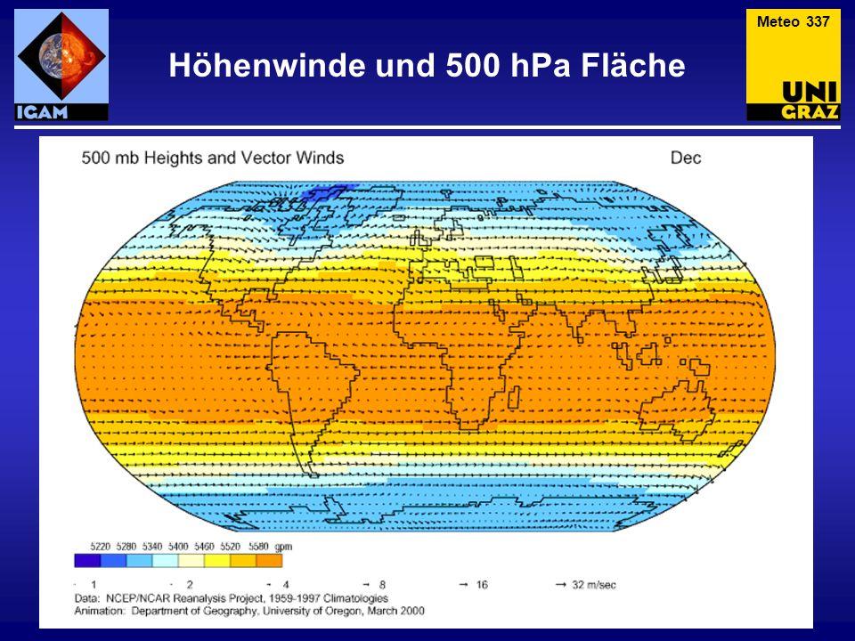 Höhenwinde und 500 hPa Fläche