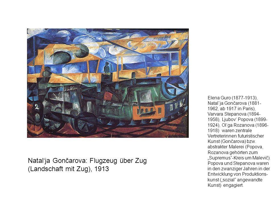Natal'ja Gončarova: Flugzeug über Zug (Landschaft mit Zug), 1913