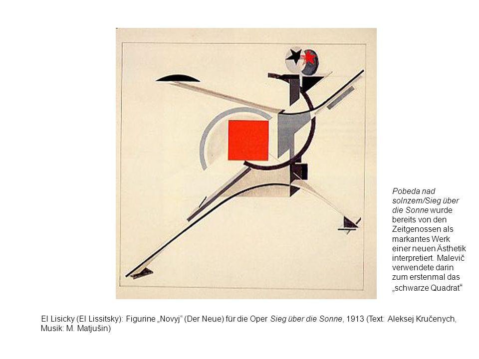 """Pobeda nad solnzem/Sieg über die Sonne wurde bereits von den Zeitgenossen als markantes Werk einer neuen Ästhetik interpretiert. Malevič verwendete darin zum erstenmal das """"schwarze Quadrat"""