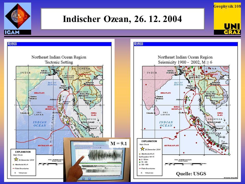 Geophysik 108 Indischer Ozean, 26. 12. 2004 M = 9.1 Quelle: USGS