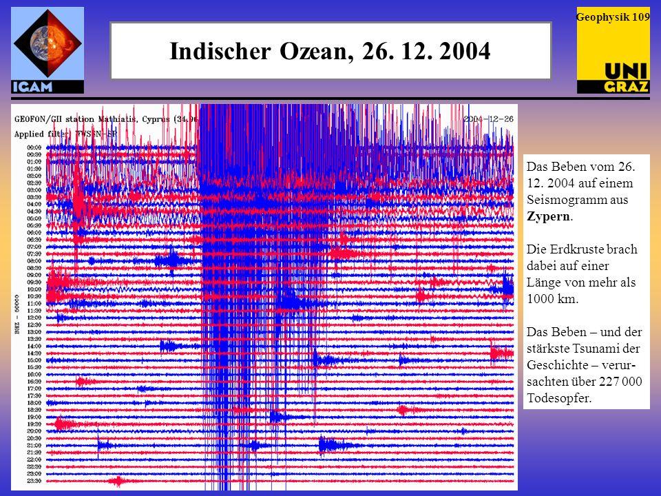 Geophysik 109 Indischer Ozean, 26. 12. 2004. Das Beben vom 26. 12. 2004 auf einem Seismogramm aus Zypern.