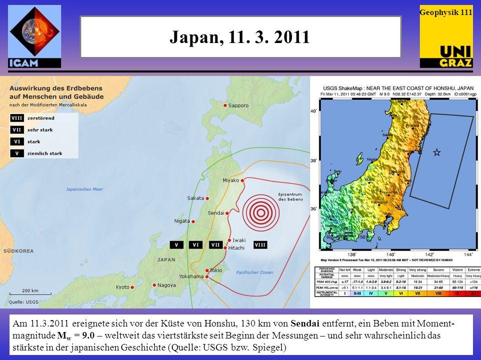 Geophysik 111 Japan, 11. 3. 2011.