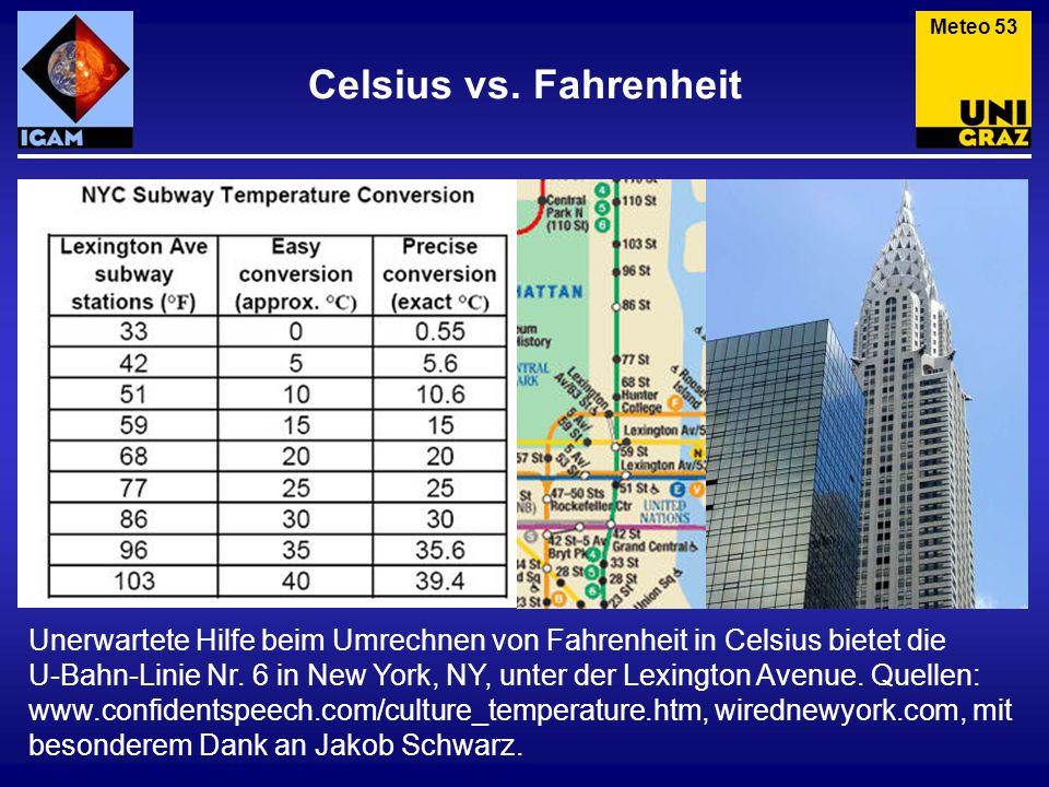 Meteo 53 Celsius vs. Fahrenheit.