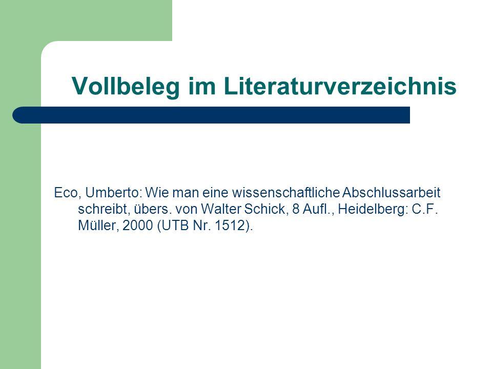 Vollbeleg im Literaturverzeichnis