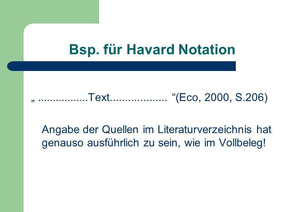 Bsp. für Havard Notation