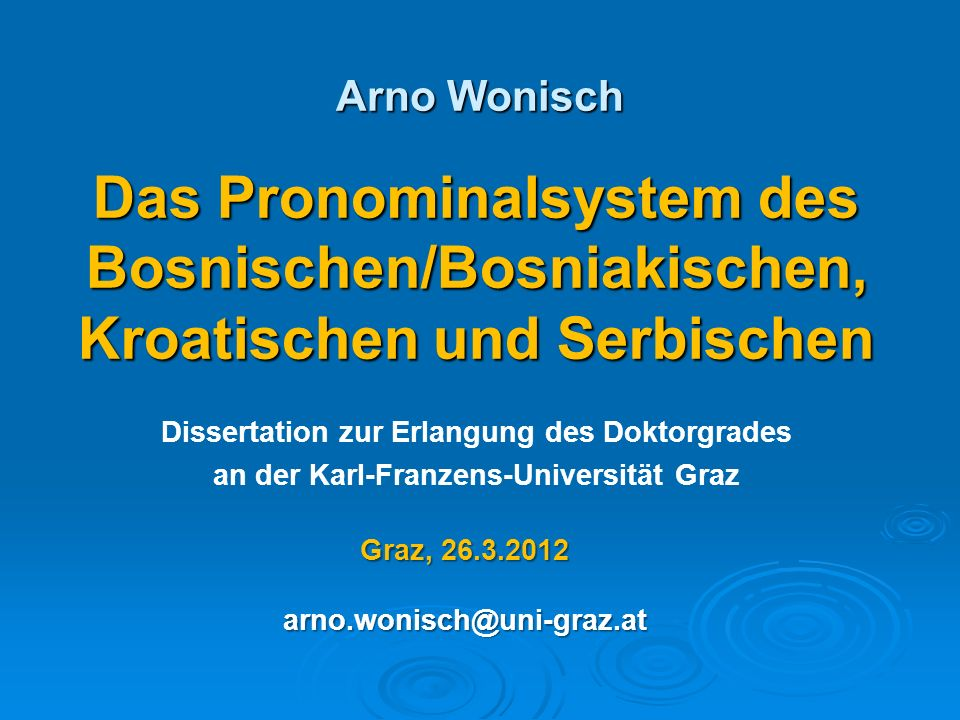 Das Pronominalsystem des Bosnischen/Bosniakischen,